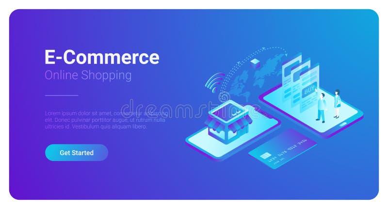 Progettazione isometrica dell'insegna di vettore di commercio elettronico illustrazione di stock