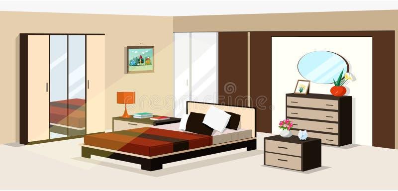 progettazione isometrica della camera da letto 3d Illustrazione di vettore della mobilia isometrica moderna della camera da letto royalty illustrazione gratis