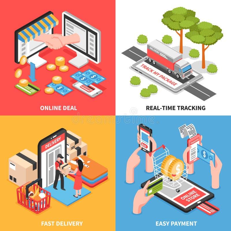 Progettazione isometrica di concetto di commercio elettronico royalty illustrazione gratis