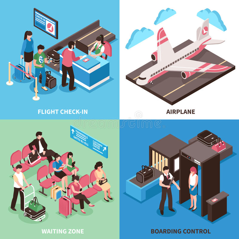 Progettazione isometrica di concetto di partenza dell'aeroporto royalty illustrazione gratis