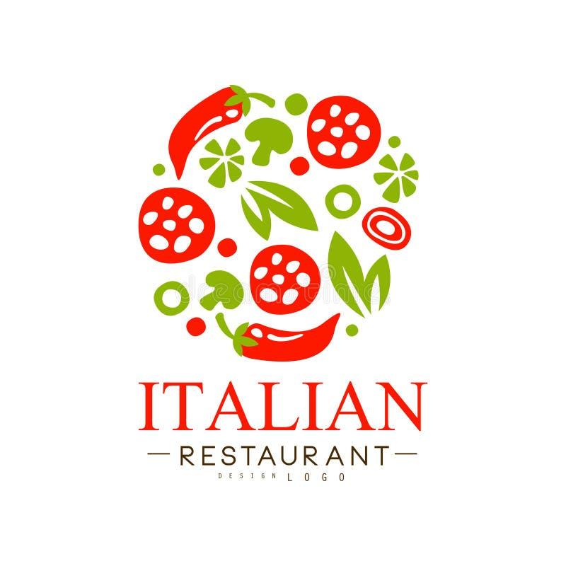 Progettazione italiana di logo del ristorante, illustrazione continentale tradizionale autentica i di vettore dell'etichetta dell illustrazione vettoriale