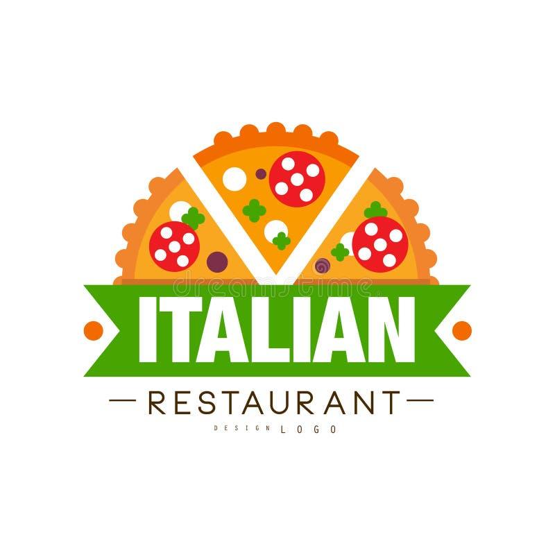 Progettazione italiana di logo del ristorante, illustrazione continentale tradizionale autentica di vettore dell'etichetta dell'a illustrazione vettoriale