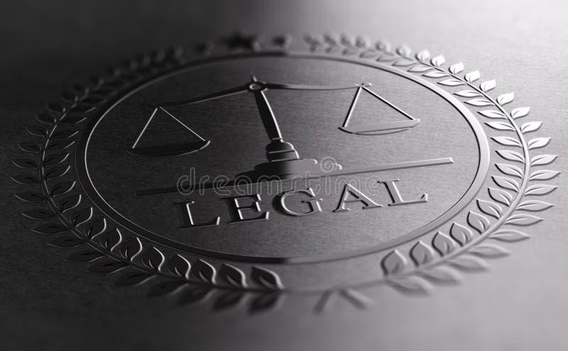Progettazione legale del segno con il simbolo della bilancia della giustizia illustrazione di stock