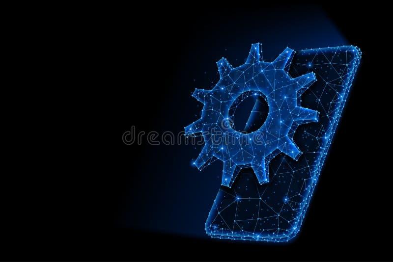 Progettazione leggera poligonale dell'estratto dello smartphone con l'ingranaggio del dente illustrazione di stock