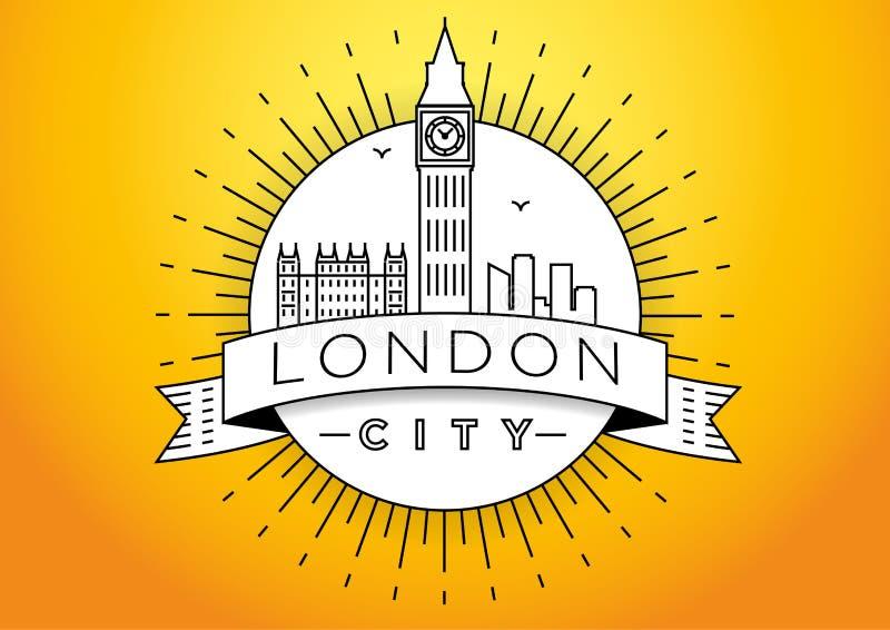 Progettazione lineare dell'icona di vettore dell'orizzonte di Londra illustrazione vettoriale