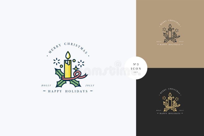 Progettazione lineare di concetto allegro adorabile di natale con la candela di Natale Carte di natale delle composizioni in tipo royalty illustrazione gratis