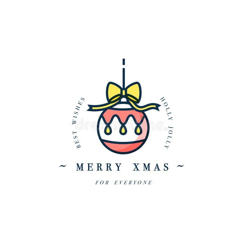 Progettazione lineare di concetto allegro adorabile di natale con la palla di Natale illustrazione di stock