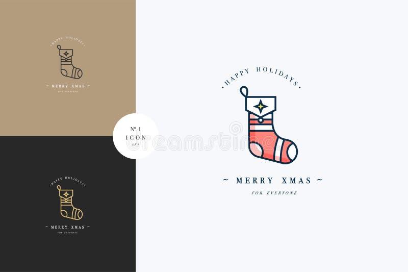 Progettazione lineare di concetto allegro adorabile di natale con la palla di Natale illustrazione vettoriale