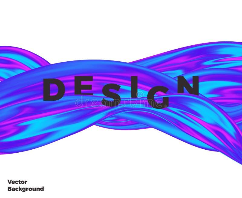 Progettazione liquida di Wave, liquido di flusso della copertura, forma olografica variopinta astratta moderna sui precedenti bia illustrazione di stock