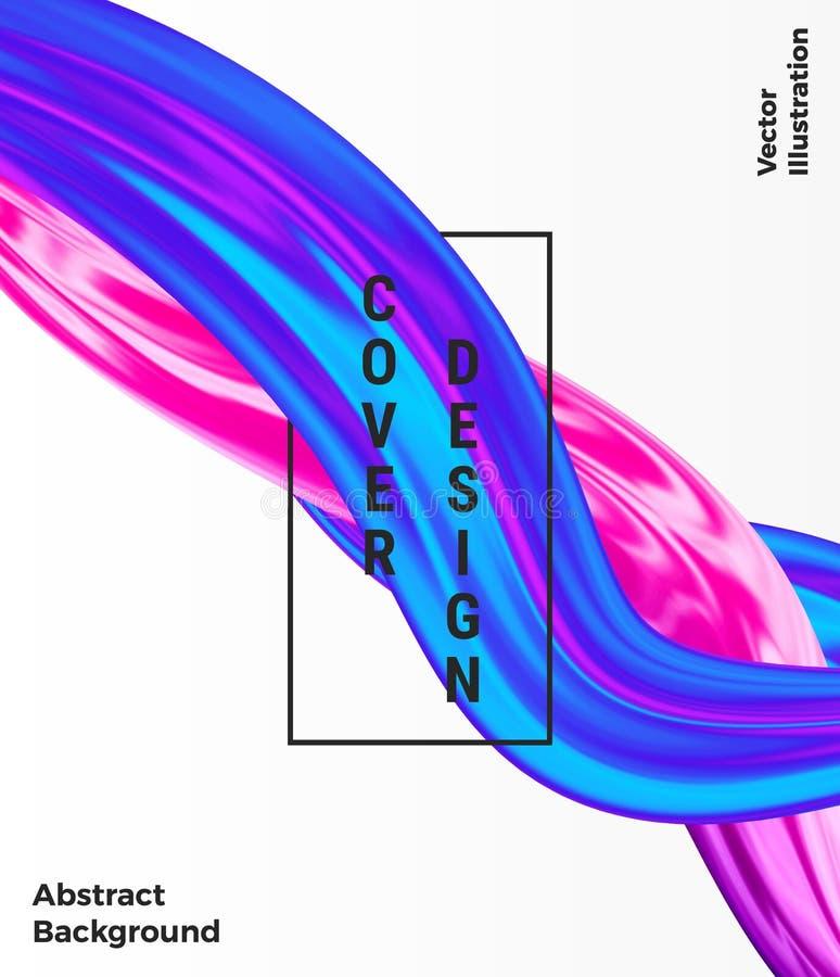 Progettazione liquida di Wave, liquido di flusso della copertura, forma olografica variopinta astratta moderna sui precedenti bia illustrazione vettoriale
