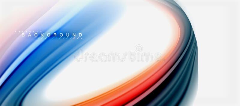 Progettazione liquida torta fondo astratto di colori del liquido dell'arcobaleno, marmo variopinto o contesto ondulato di plastic illustrazione di stock