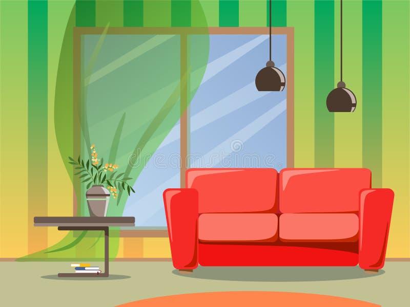 Progettazione luminosa della stanza con un sofà, due lampade e una tavola con i fiori in un vaso Illustrazione piana di stile illustrazione di stock
