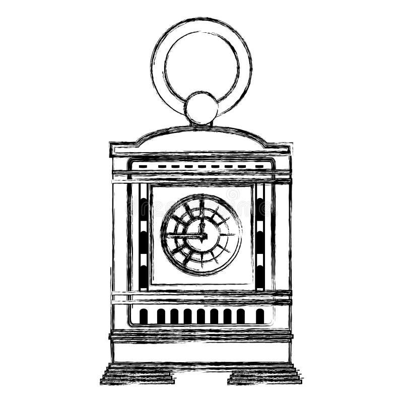 Progettazione manuale della struttura dell'orologio della mensola del camino di lerciume royalty illustrazione gratis