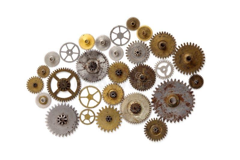 Progettazione meccanica di stile dell'ornamento del macchinario di Steampunk isolata su bianco Retro concetto di natura morta di  immagini stock