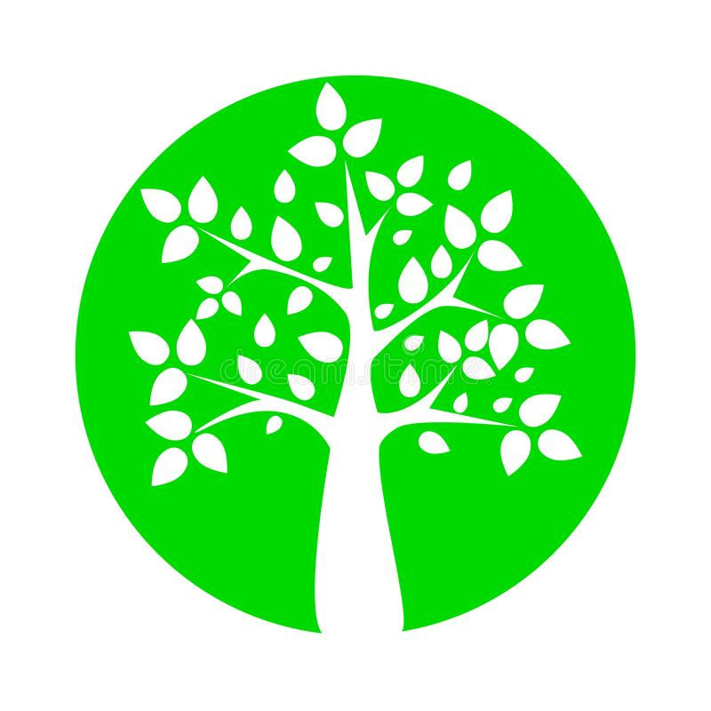 Progettazione meravigliosa di una siluetta bianca di un albero con le foglie in un cerchio verde royalty illustrazione gratis