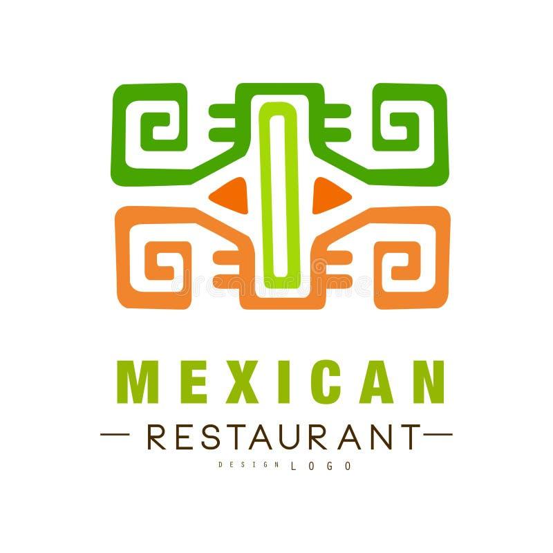 Progettazione messicana di logo del ristorante, illustrazione continentale tradizionale autentica di vettore dell'etichetta dell' royalty illustrazione gratis