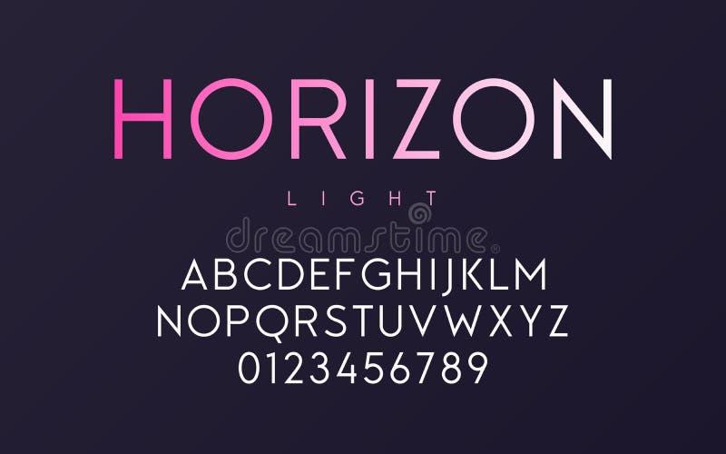 Progettazione minima d'avanguardia della fonte della luce di caratteri sans serif di vettore, alfabeto, ty illustrazione di stock