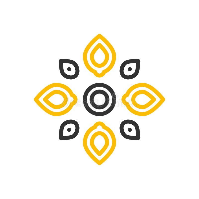 Progettazione minima dell'icona di vettore di Rangoli Illustrazione al tratto sottile per la decorazione indiana della forma di a royalty illustrazione gratis