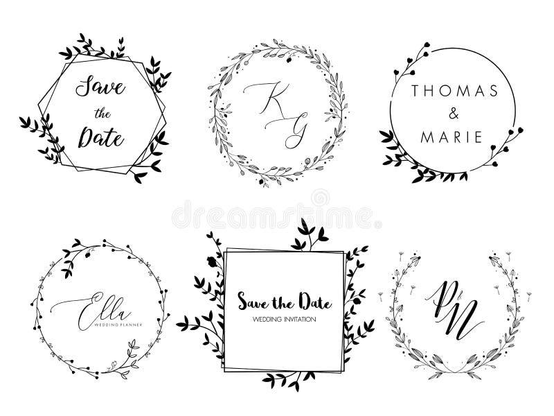 Progettazione minima della corona floreale dell'invito di nozze Modello di vettore con gli elementi dell'ornamento di flourishes illustrazione di stock
