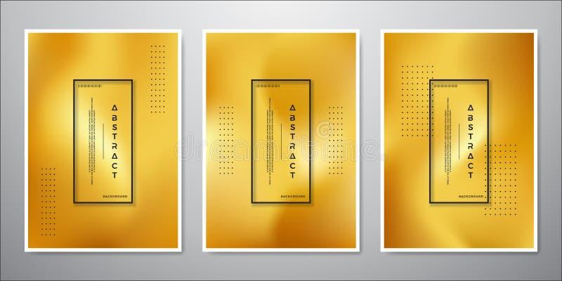 Progettazione minimalista astratta del fondo dell'oro una collezione di ambiti di provenienza colorati oro lussuoso illustrazione vettoriale