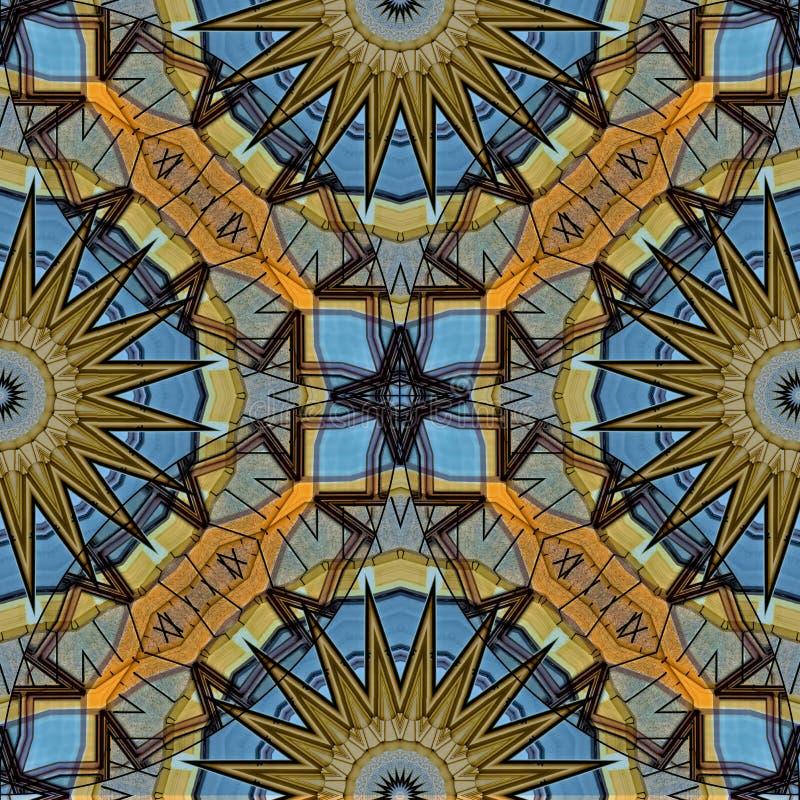 Progettazione misteriosamente digitale di arte dei cerchi e della stella di collegamento illustrazione di stock