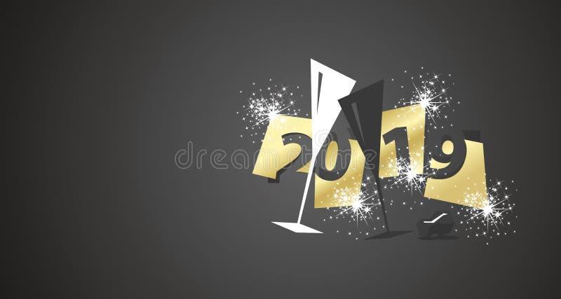 Progettazione moderna dei pantaloni a vita bassa dello spazio negativo del nuovo anno 2019 due vetri del fondo nero del champagne illustrazione di stock
