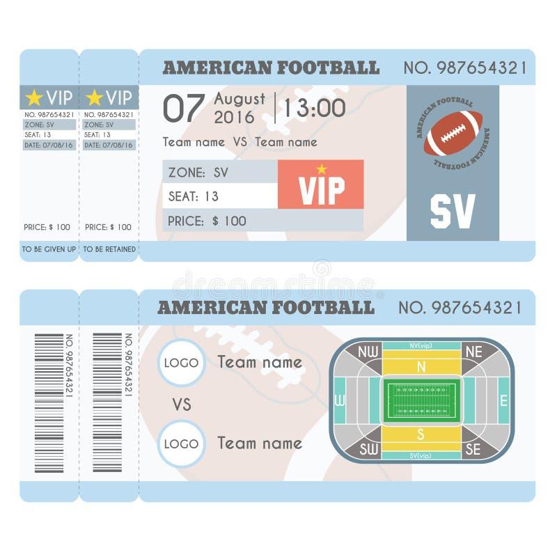 Progettazione moderna del biglietto di football americano Palla di football americano, campo, schema dello stadio con la zona illustrazione vettoriale