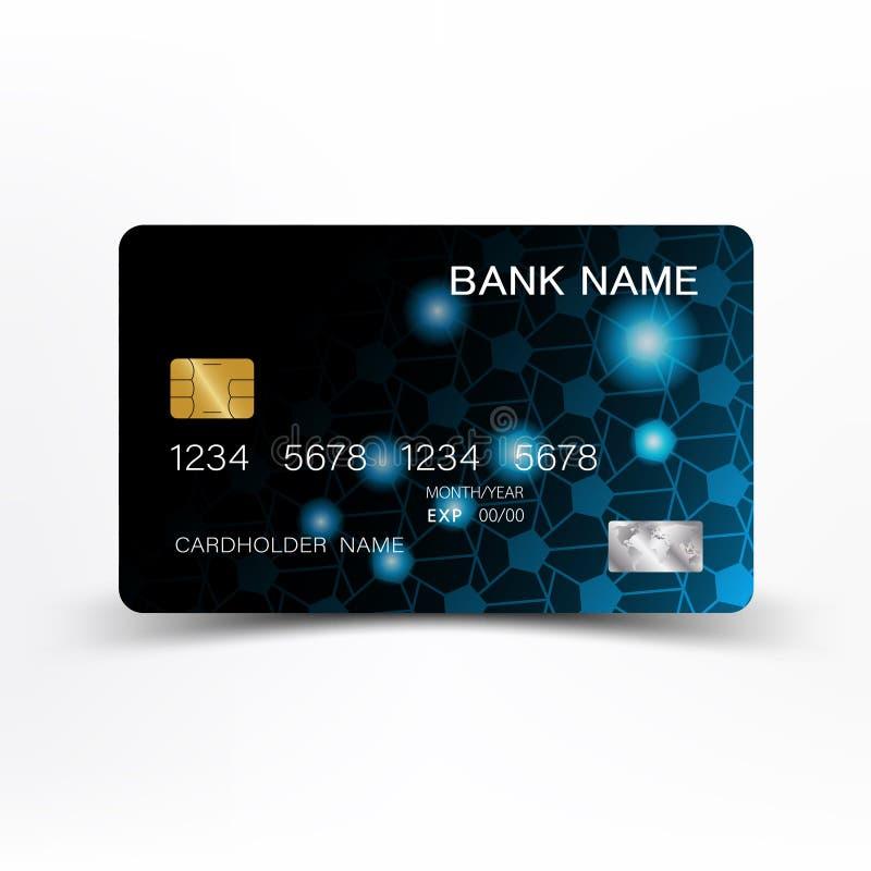 Progettazione moderna del modello della carta di credito Con ispirazione dalla linea estratto Colore blu e nero sull'illustrazion illustrazione di stock