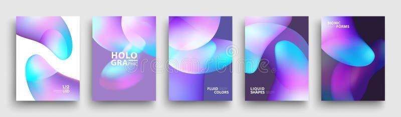 Progettazione moderna del modello di coperture Colori fluidi L'insieme della pendenza olografica d'avanguardia modella per la pre royalty illustrazione gratis