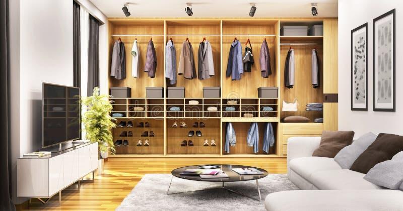 Progettazione moderna del salone con lo scivolamento del guardaroba illustrazione vettoriale