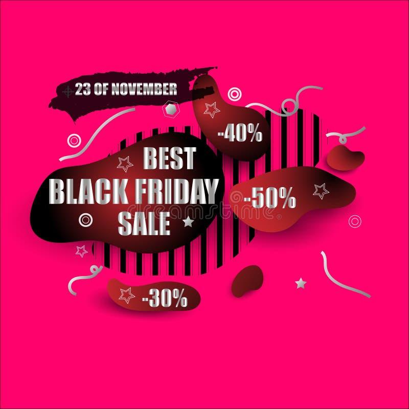 Progettazione moderna dell'insegna di forma di venerdì dell'estratto nero di vendita Prezzo da pagare con lo sconto Progettazione illustrazione vettoriale
