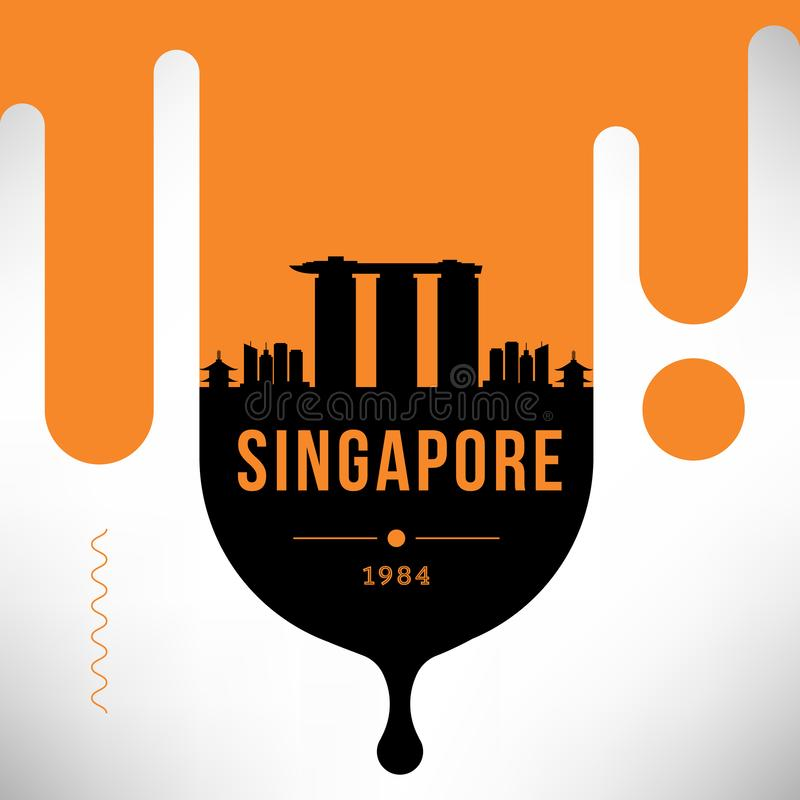 Progettazione moderna dell'insegna di web di Singapore con l'orizzonte lineare di vettore royalty illustrazione gratis