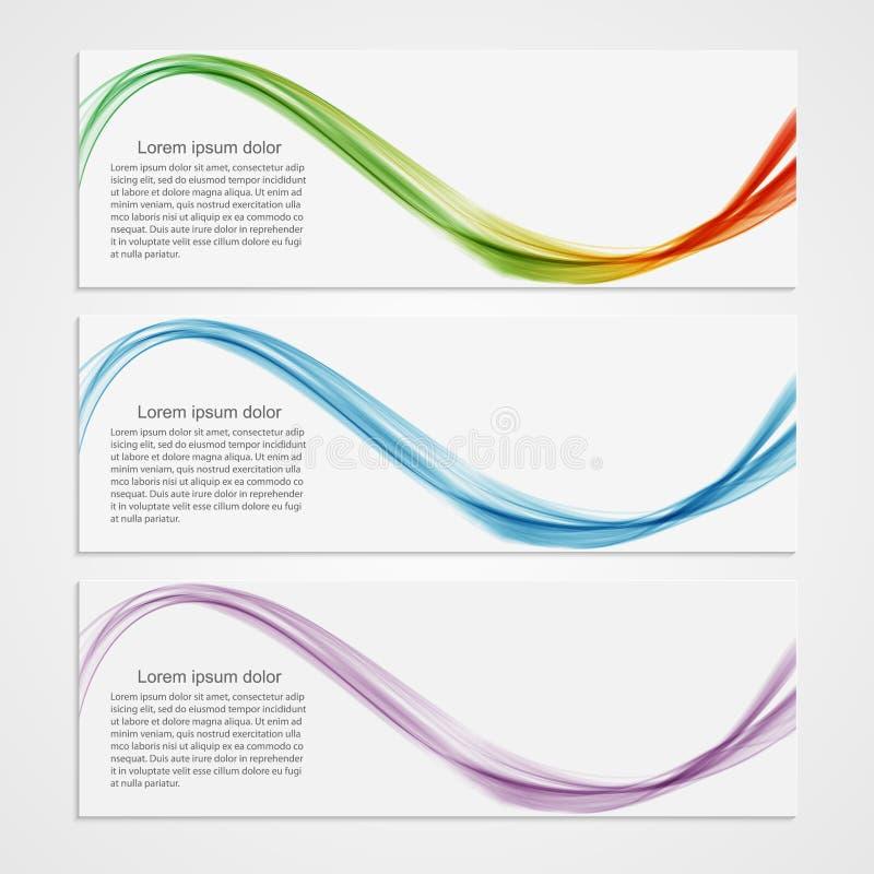Progettazione moderna dell'onda delle insegne della raccolta Priorità bassa variopinta royalty illustrazione gratis