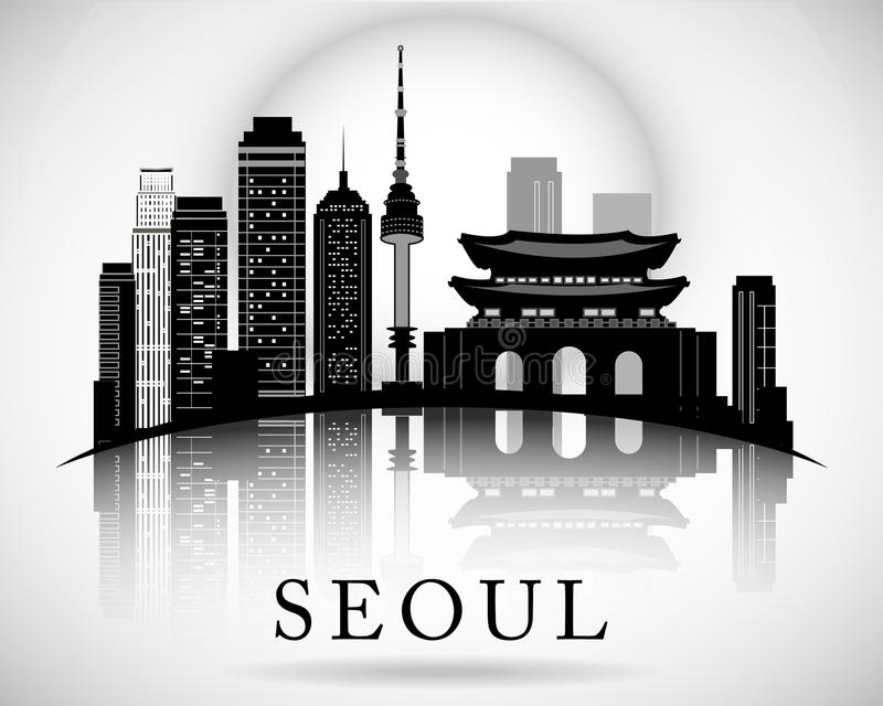 Progettazione moderna dell'orizzonte della città di Seoul royalty illustrazione gratis