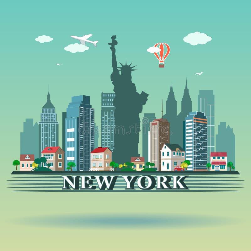 Progettazione moderna dell'orizzonte di New York illustrazione vettoriale