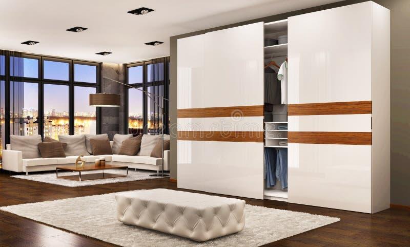 Progettazione moderna della camera da letto con lo scivolamento del guardaroba Vista di sera illustrazione vettoriale