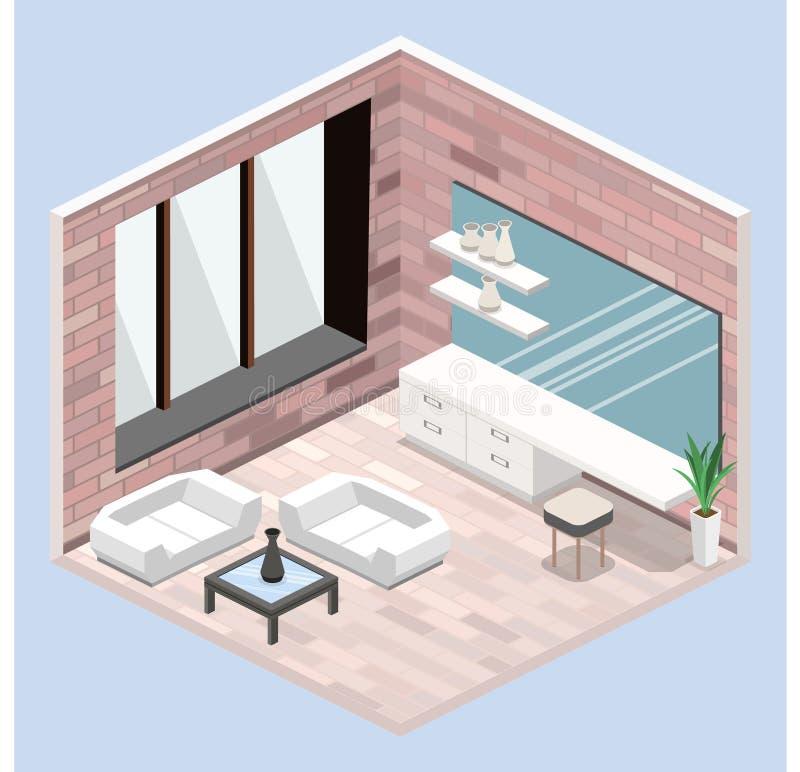 Progettazione moderna della camera da letto nello stile isometrico illustrazione di stock