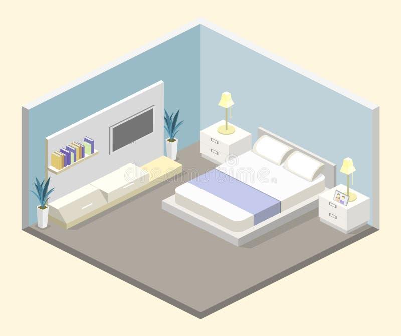 Progettazione moderna della camera da letto nello stile isometrico royalty illustrazione gratis