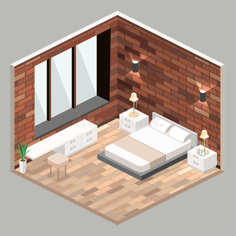 Progettazione moderna della camera da letto nello stile isometrico illustrazione vettoriale