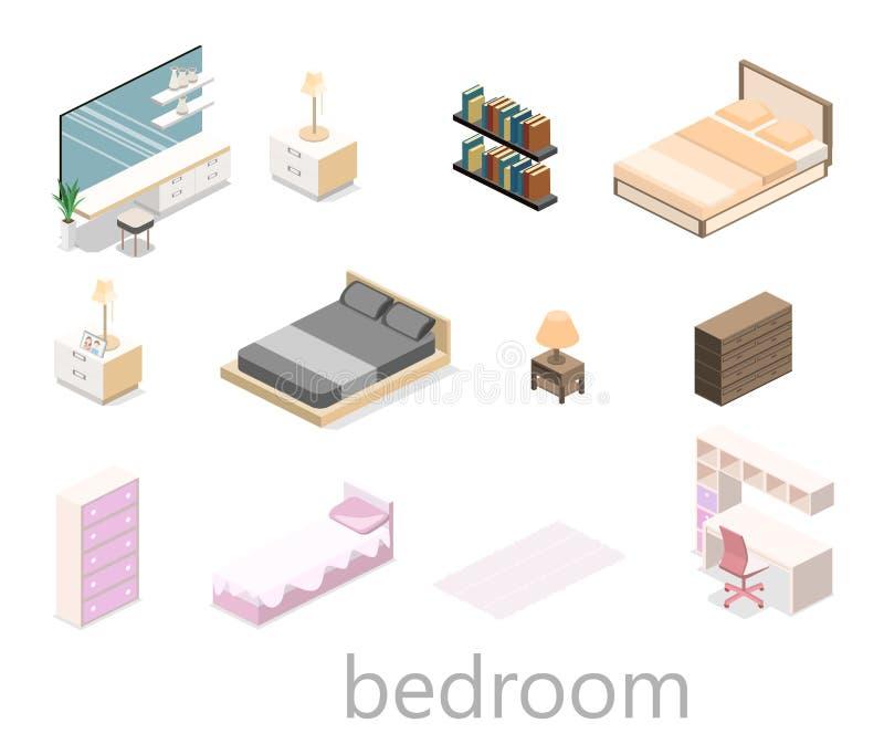 Progettazione moderna della camera da letto nello stile isometrico 3d piano illustrazione di stock