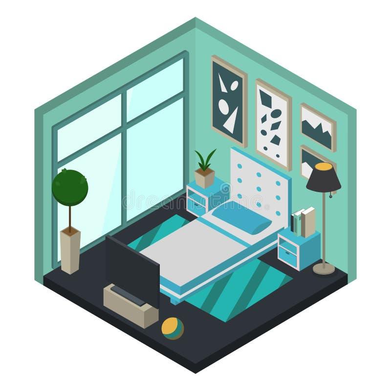 Progettazione moderna della camera da letto nello stile isometrico Illustrazione piana di vettore illustrazione di stock