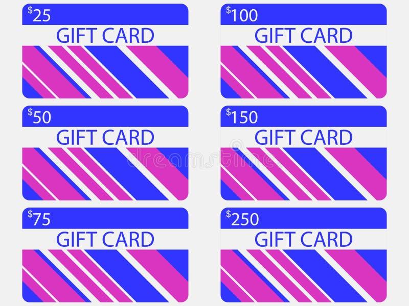 Progettazione moderna della carta di regalo con le bande Colori blu e rosa Le carte hanno costato in 25, 50, 75 100, 150, 250 Vet royalty illustrazione gratis
