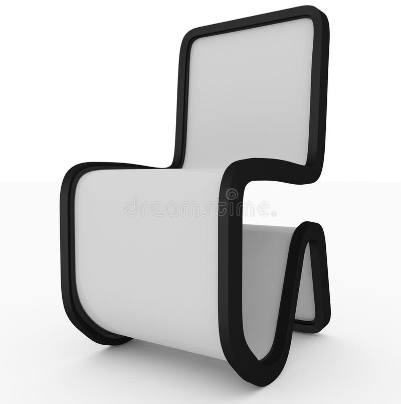 Progettazione moderna della sedia - bianco- isolato su bianco illustrazione vettoriale