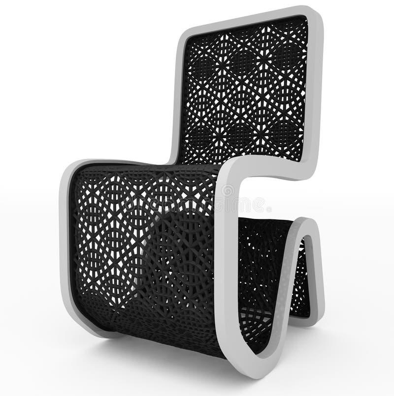 Progettazione moderna della sedia - maglia nera - isolata su bianco royalty illustrazione gratis