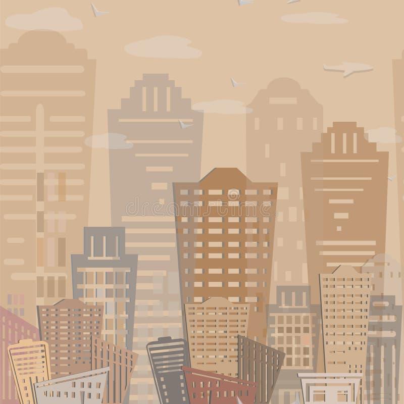 Progettazione moderna delle costruzioni del bene immobile del modello senza cuciture Paesaggio urbano Vettore immagini stock