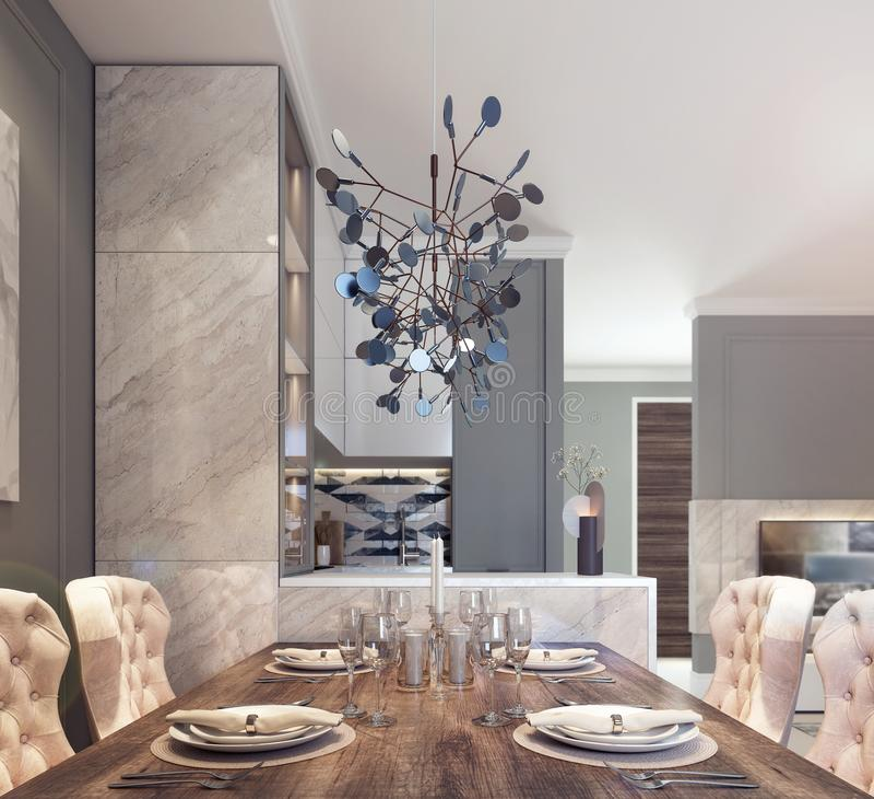 Progettazione moderna di area pranzante della cucina illustrazione vettoriale
