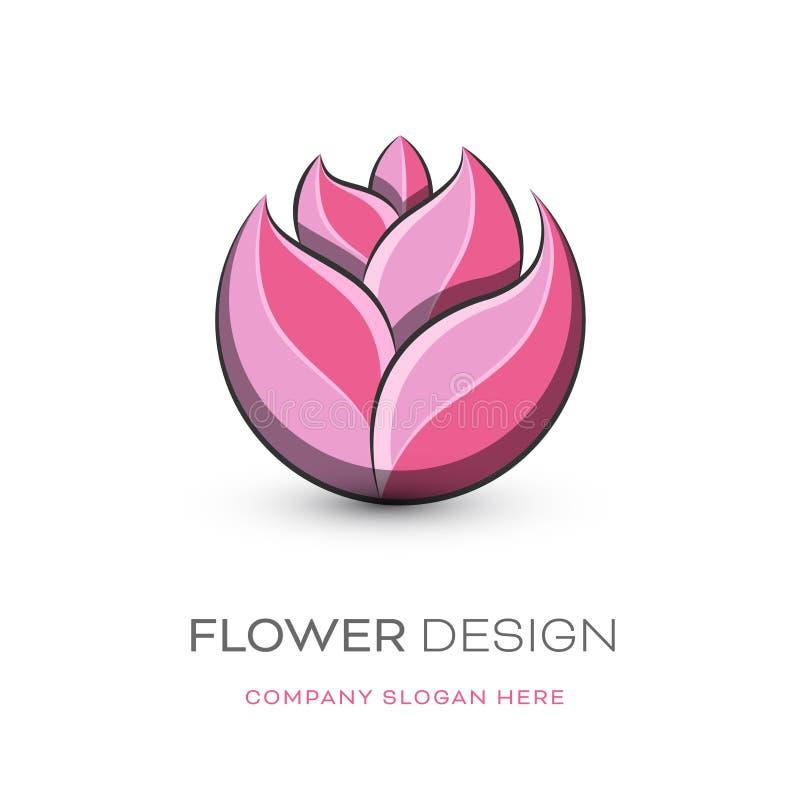 Progettazione moderna di logo del fiorista illustrazione vettoriale
