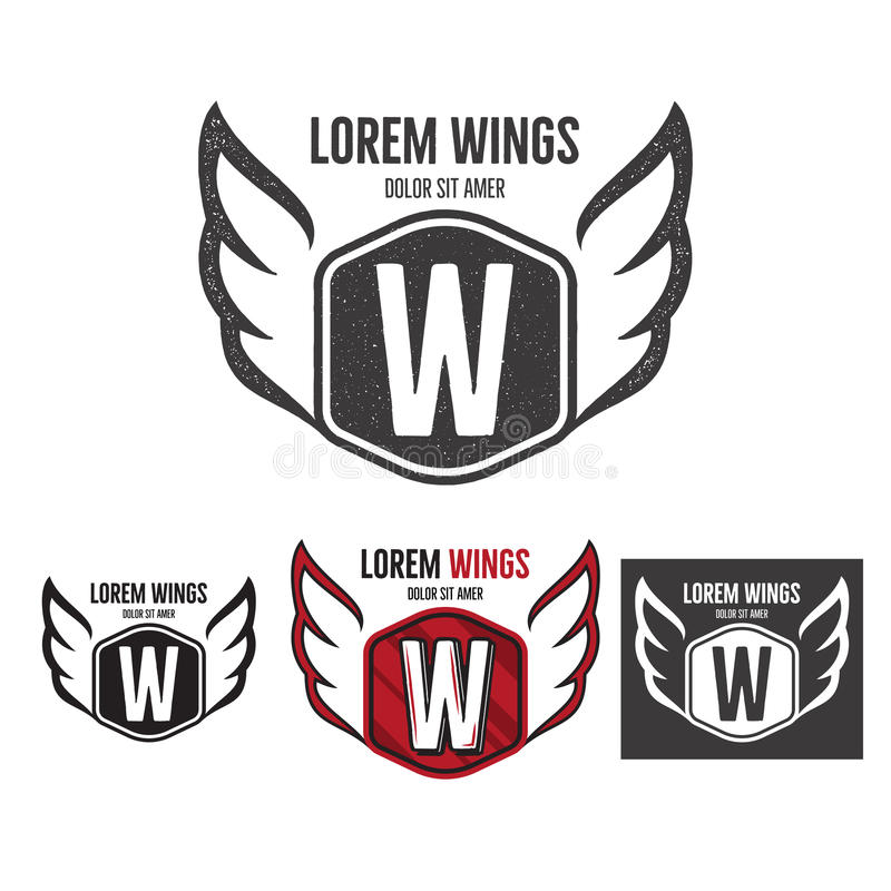 Progettazione moderna di logo del modello dello schermo delle ali Monocromio, siluetta, colore, retro versioni approssimative Pro illustrazione vettoriale