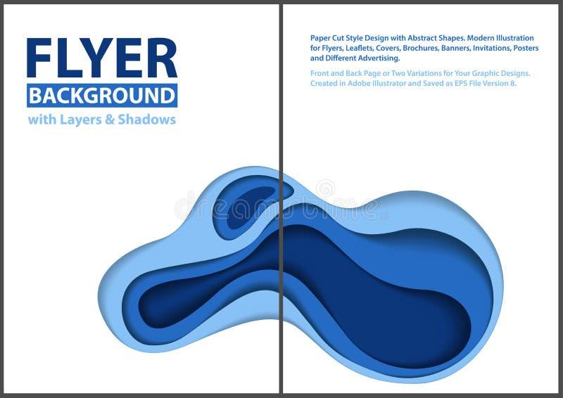 Progettazione moderna di stile del taglio della carta dell'aletta di filatoio con gli strati blu illustrazione vettoriale