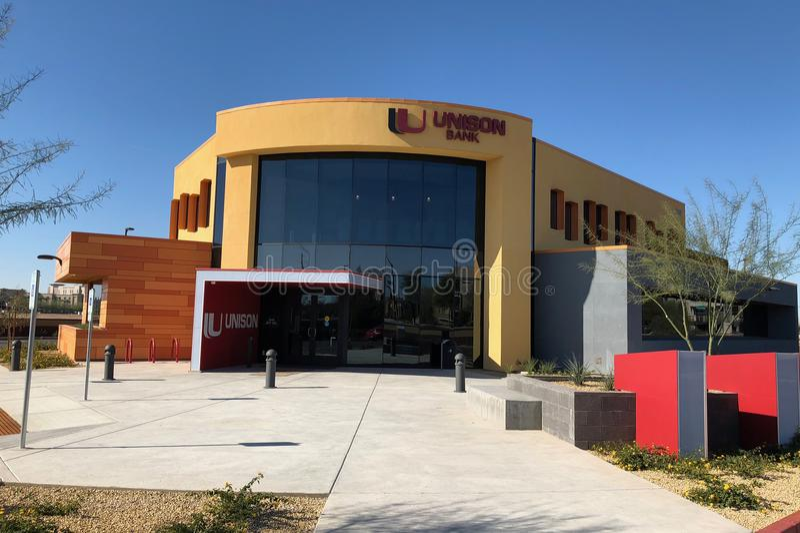 Progettazione moderna di una banca in Gilbert Arizona immagini stock libere da diritti